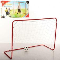 Футбольные ворота металлические с сеткой  и маленьким надувным мячом для улицы, размер 120-85-50 см арт. 3361 43817-06 lvt-3361