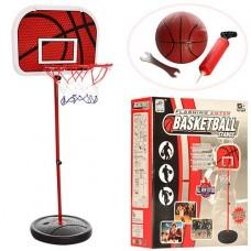 Детская регулируемая стойка на щитке с Баскетбольным металлическим кольцом D=22.8см, высота 105-139см с мячом