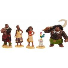 Игровой набор из 5 фигурок: Моана, Мауи с крюком, вождь Туи, Сина, Пуа и Хей-Хей, 8-10 см - Moana, Jakks Pacific