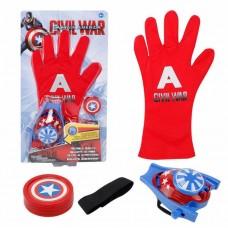 Перчатка супергероя Капитан Америка: стрельба дисками - 4шт D=3.5 см, крепится на руке - Captain America Civil War