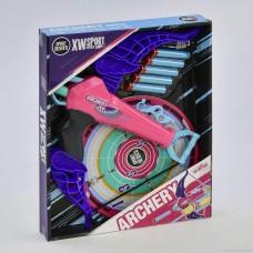 Игровой набор Арбалет с мишенью с 5 поролоновыми патронами на присосках, сине-розовый - Archery, XW Sport Series