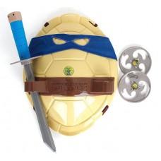 Игровой Боевой набор для мальчиков Леонардо Черепашки Ниндзя - синяя маска, панцирь, оружие: 2 сюрикена, меч