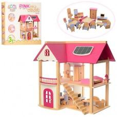 Детский игрушечный Деревянный двухэтажный домик с розовой крышей с мебелью для кукол, размер домика 55х37х53см