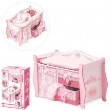 Детский игровой набор Деревянная Кровать-комод DeCuevas для куклы, с постельным бельем, органайзер арт. 54421 49400-06 lvt-54421
