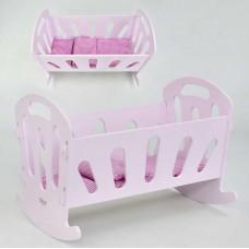 *Кроватка детская игровая без постели для кукол деревянная Мася, Размер кроватки - 49-36-36 см арт. 8001 44170-06 lvt-8001