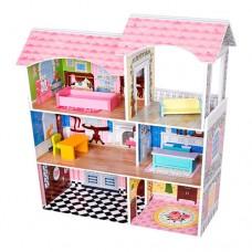 Детский Игрушечный Деревянный трехэтажный Домик для девочек с мебелью для кукол, 6 комнат с обоями 61х96х24см