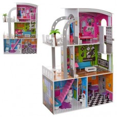 Детский Игровой 3-х этажный Деревянный домик для кукол с 2 балконами, лестницей, мебелью 113х74х29см арт. 2012