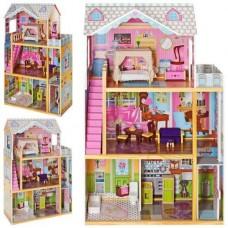 Детский Игровой набор для девочек 3-х этажный Деревянный домик для кукол, балкон, мебель 74х117х32см арт. 2252