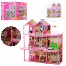 Детский Игровой Набор 3-х этажный Домик для кукол 29 см, со светом, мебелью, 245 дет., 109х107х41 см арт. 6992 43382-06 lvt-6992