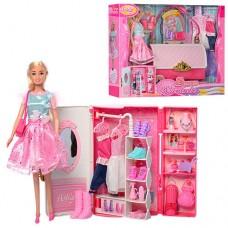 Детский игровой набор Гардеробная сумочка-шкаф с одеждой, обувью и аксессуарами, с куклой 29 см, арт. 99046