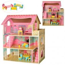 Детский игровой набор Трехэтажный Деревянный Домик для кукол 5 комнат, балкон, мебель, 61х70х30 см, арт. 2203