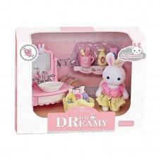 Детский игровой Набор мебели для игрушечного домика Умывальник с зеркалом и раковиной с фигуркой зайчика 9см