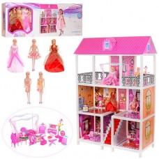 Детский игровой набор Двухэтажный Домик, 5 кукол 28 см, 4 комнаты с обоями, мебель, 94х41.5х136 см, арт. 66885 43973-06 lvt-66885