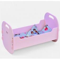 Игровой набор для девочек Деревянная Кроватка Мася для кукол с постельным бельем, 47.5х26.5х25.5 см, арт. 8003 44273-06 lvt-8003