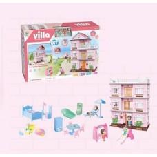 Игрушечный трехэтажный Домик с плоской крышей с террасой, комплектом мебели и аксессуарами для кукол до 10см