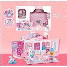 Детский Игрушечный Домик-Сумочка с 2 зайчиками, для фигурок пони, кукол ЛОЛ LOL, с мебелью, двухъярусный