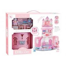 Детская игрушечная Замок-Сумочка с 2 зайчиками, для фигурок пони, кукол ЛОЛ LOL, трехъярусная, с мебелью