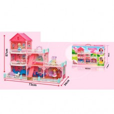 Детский домик с 6 комнатами, террасой, детская площадка и аксессуарами для кукол высотой до 10см, 57х73х34см