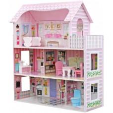 Детский Игровой набор для девочек 3-х этажный Деревянный домик для кукол, балкон, мебель 70х60х25 см арт. 1204