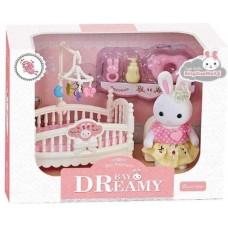 Детский игровой Набор мебели для игрушечного домика Спальня с кроваткой, аксессуарами и фигуркой зайчика 9см