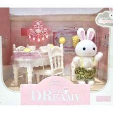Детский игровой Набор мебели для игрушечного домика Стол со стульями с посудой, продуктами и зайчиком 9см