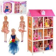 Детский игровой набор Трехэтажный  Домик с 3 куклами, 6 комнат с обоями, мебель, 84х41.5х136 см, арт. 66886 43585-06 lvt-66886