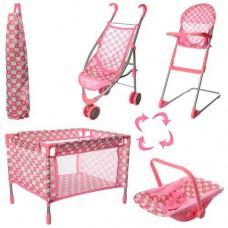 Игровой набор для девочек Мебель и аксессуары для Пупса 4в1 коляска-трость, манеж, люлька, стульчик арт. 9003 43595-06 lvt-9003