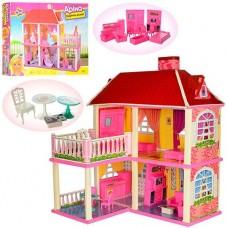 Игрушечный Двухэтажный Домик Арина для кукол 16-29 см, 2 варианта сборки, 5 комнат, балкон, мебель высота 70см