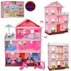 Детский Игрушечный трехэтажный Домик для кукол до 10см типа ЛОЛ LOL с террасой, подсветкой, мебелью, 4 фигурки