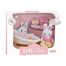 Детский игровой Набор мебели для игрушечного домика Ванная комната с аксессуарами и фигуркой зайчика 9см