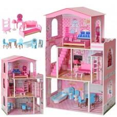 Деревянный трехэтажный кукольный домик с мебелью на 4 комнаты с террасой, лестницей и лифтом 75х33х116см