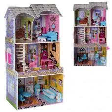 Деревянный трехэтажный кукольный домик с 5 комнатами и мебелью для кукол, высота 118 см арт.  арт. 2010 43336-06 lvt-2010