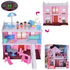 Игровой Двухэтажный Домик (острая крыша) со светом, мебелью, террасой, 4 фигурки, 34х31х16 см, арт. KB99-33 60226-06 lvt-99-33