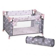 Детская игрушечная Кровать-Манеж для куклы до 48см с подвесками и сумкой для хранения, 50х29х30см DeCuevas