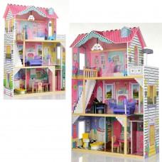 Деревянный трехэтажный кукольный домик с мебелью на 4 комнаты, балкон с террасой, лестница, лифт 83х34х122см