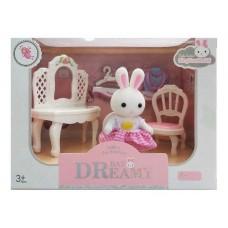 Детский игровой Набор мебели для игрушечного домика Трюмо: зеркало, стульчик, аксессуары и фигурка зайчика 9см