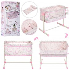 Детская игрушечная Кровать-Манеж для куклы до 48см с постельным бельем и подвесками, 50х35х50см DeCuevas