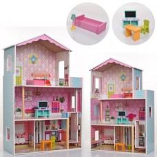 Детский игрушечный трехэтажный Деревянный домик с мебелью для кукол: 4 комнаты с террасой, лестница, лифт*