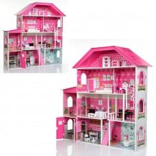 Деревянный четырехэтажный кукольный домик с мебелью на 9 комнат с обоями, лестницей и лифтом 140х36х135см