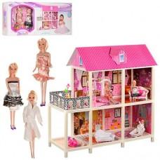 Детский игровой набор Двухэтажный Домик, 3 куклы, 4 комнаты, мебель, мотороллер 104.5х41.5х100 см арт. 66884 43748-06 lvt-66884