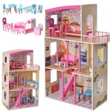 Детский игрушечный Деревянный трехэтажный Домик: 5 комнат, мебель для кукол, терраса и лестница 75х110х30см*