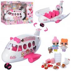 Игровой набор для девочек Самолет с открывающимся корпусом, розовыми креслами, 3 куклами, аксессуарами ЛОЛ LOL