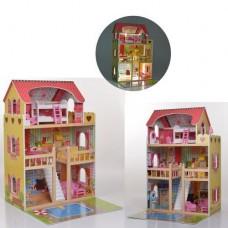 Детский игрушечный трехэтажный Деревянный домик со светом с мебелью для кукол, 5 комнат и балкон высота 91см