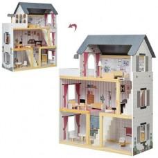 Деревянный трехэтажный кукольный домик с мебелью на 4 комнаты с обоями, лестницей и балконом 62х27х77см