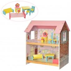 Детский игровой набор для девочек Деревянный Двухэтажный Домик с мебелью для куклы, 48х44х25 см, арт. 2048
