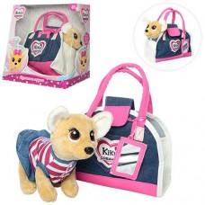 """Детская плюшевая собачка Кики """"Джинсовый стиль"""" - качественный аналог ChiChi Love, размер 22 смарт. 3218"""