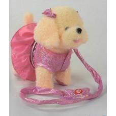 Интерактивная Мягкая игрушка Собачка на поводке в розовом наряде: движется, песенка на русском, 25х15х25см
