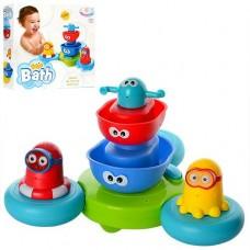 Игрушка - пирамидка фонтан для ванной из 5 предметов (плавучая база , лодочки с глазками, 2 фигурки)  арт. 007