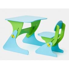 Растущий Детский письменный стол и стул с регулировкой по высоте, парта для детей от 2 до 7 лет blue-green