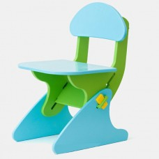 Детский Стул регулируемый по высоте для стола и парты растущий, для ребенка от 2 года до 7 лет green-blue